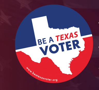 Graphic with button Be a Texas Voter