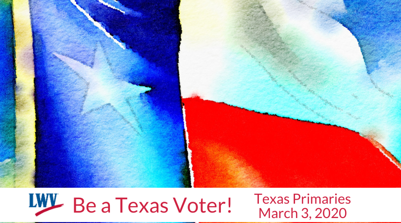 Flag with Be a Texas Voter