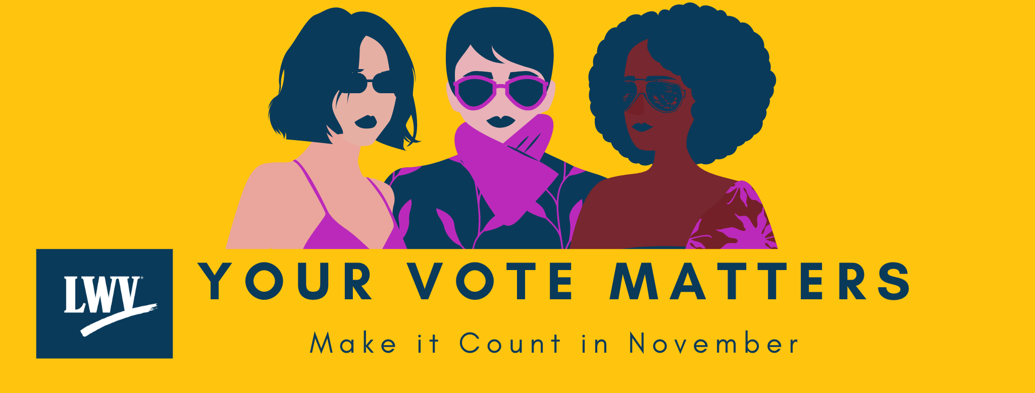 Your vote matters graphic with three women