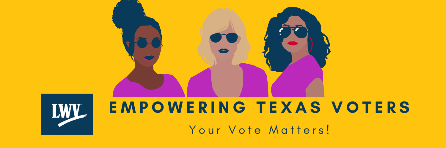Three women graphic. Empowering Texas Voters