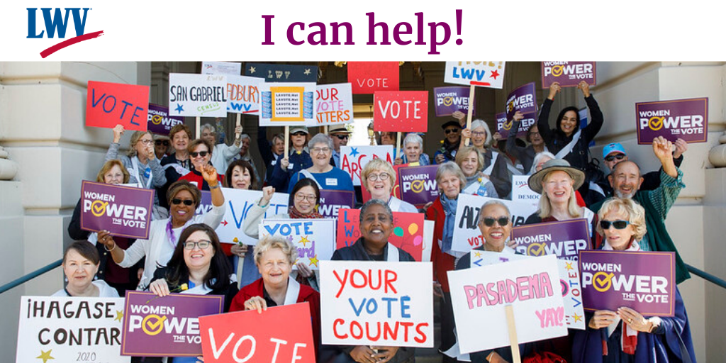 Women Holding signs. I  can help