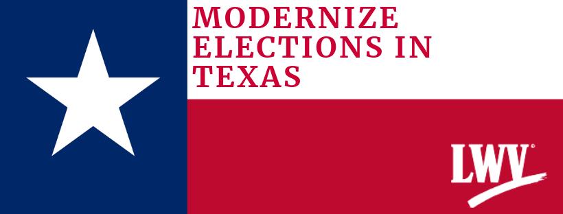 Texas Flag with Modernize Texas Elections