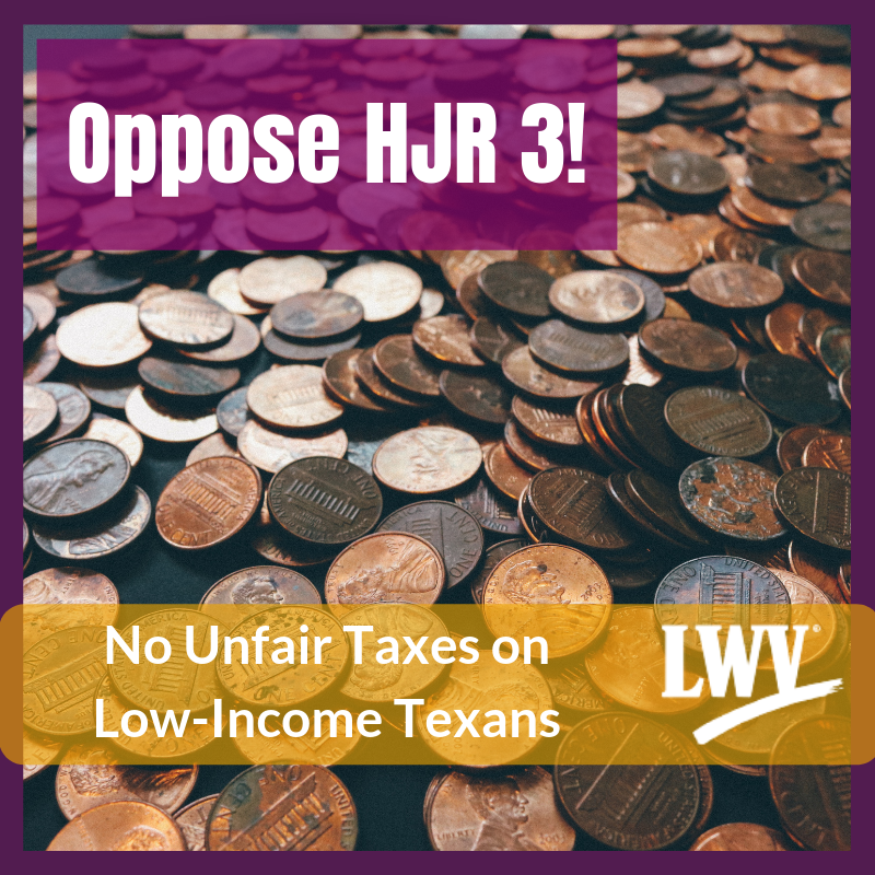 Pile of coins.  Oppose HJR 3 No Unfair Taxes on Low Income Texans