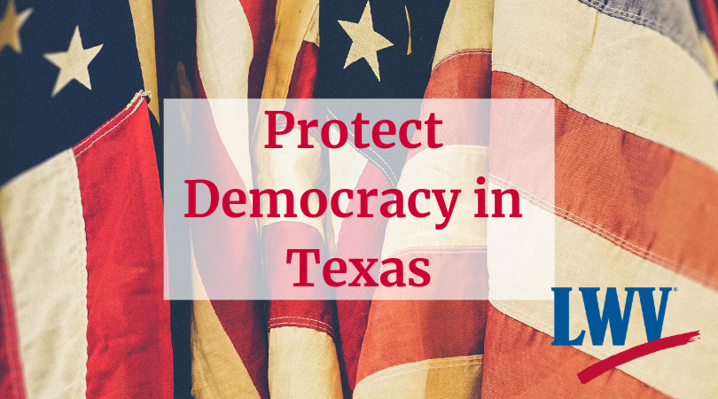 American Flag. Protect Democracy in Texas