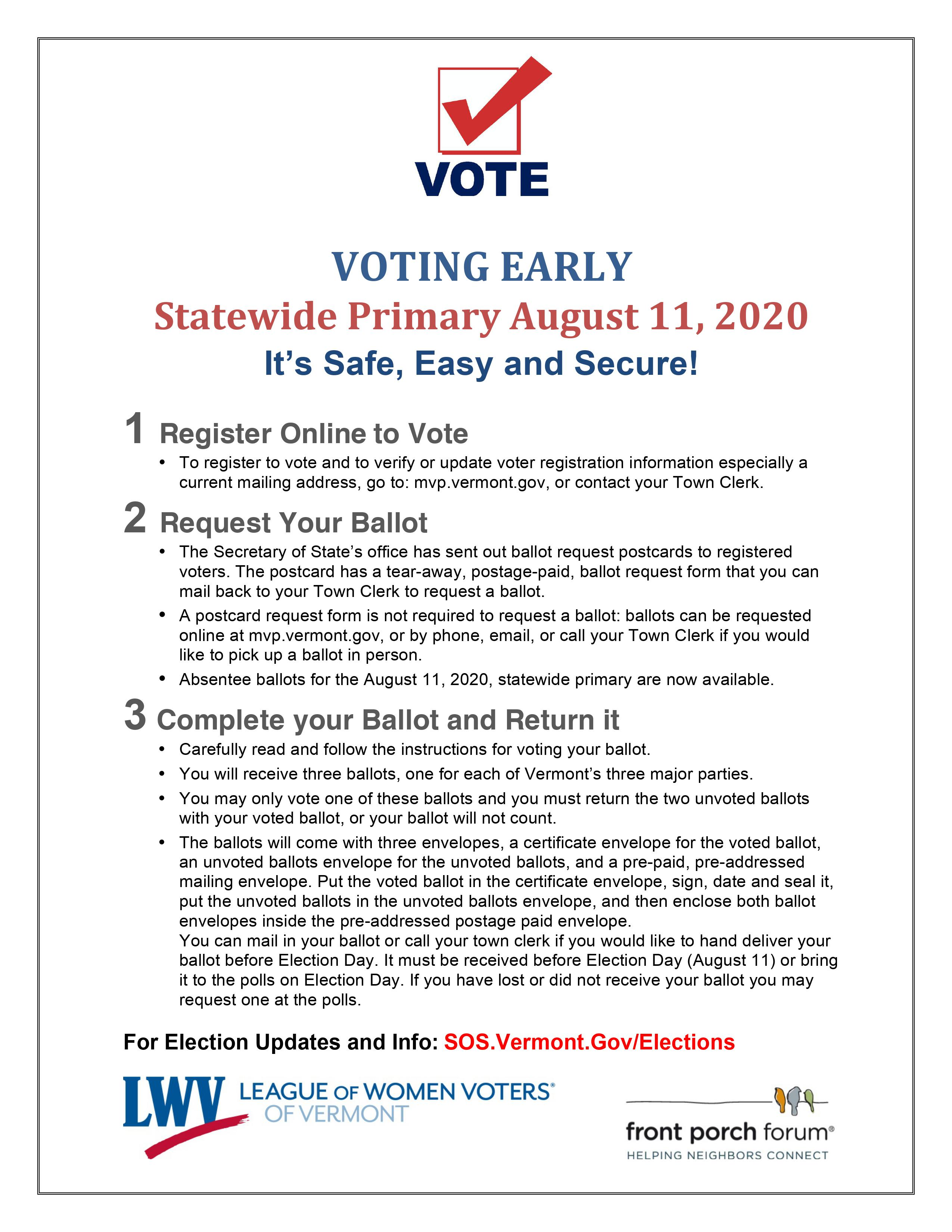 Vermont's Statewide Primary is August 11, 2020