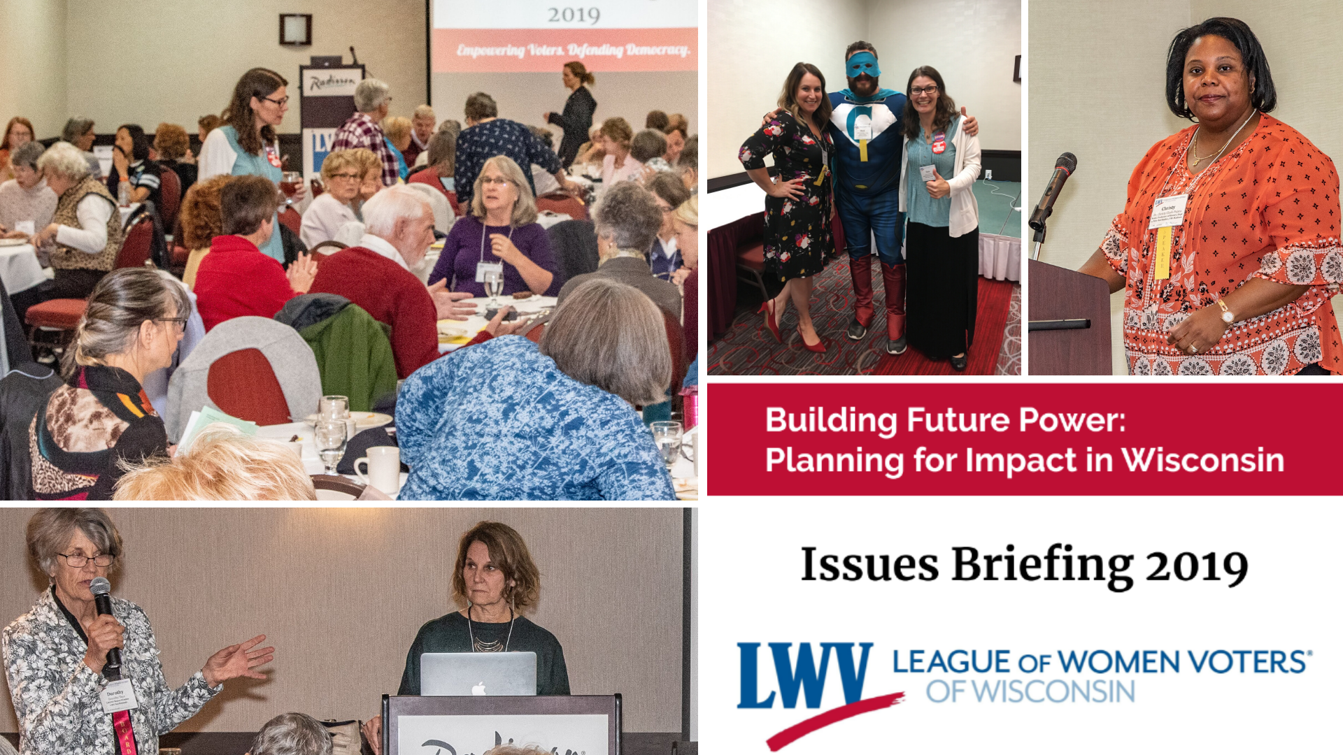 Collage of images taken at LWVWI's 2019 Issues Briefing event