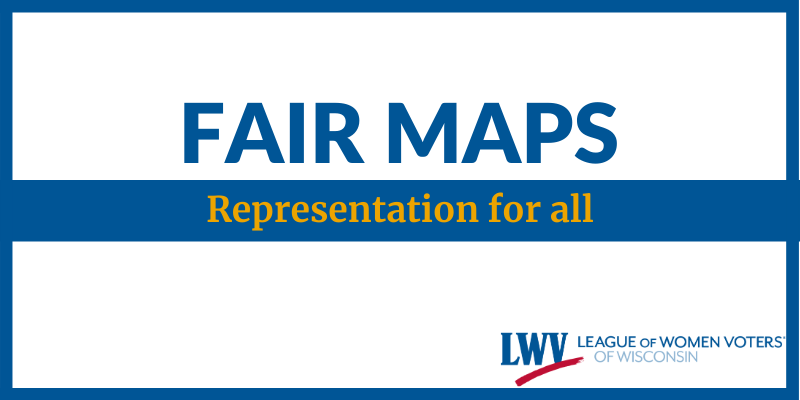 "Graphic with text, ""Fair Maps, Representation for All"""