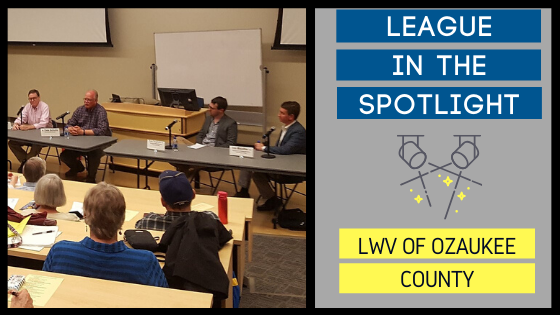 "Graphic showing a photo of local league members with ""League in the Spotlight"" on the right."