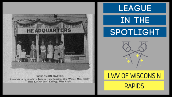 "Graphic showing an old photo of Wisconsin Rapids league members with ""League in the Spotlight"" on the right."