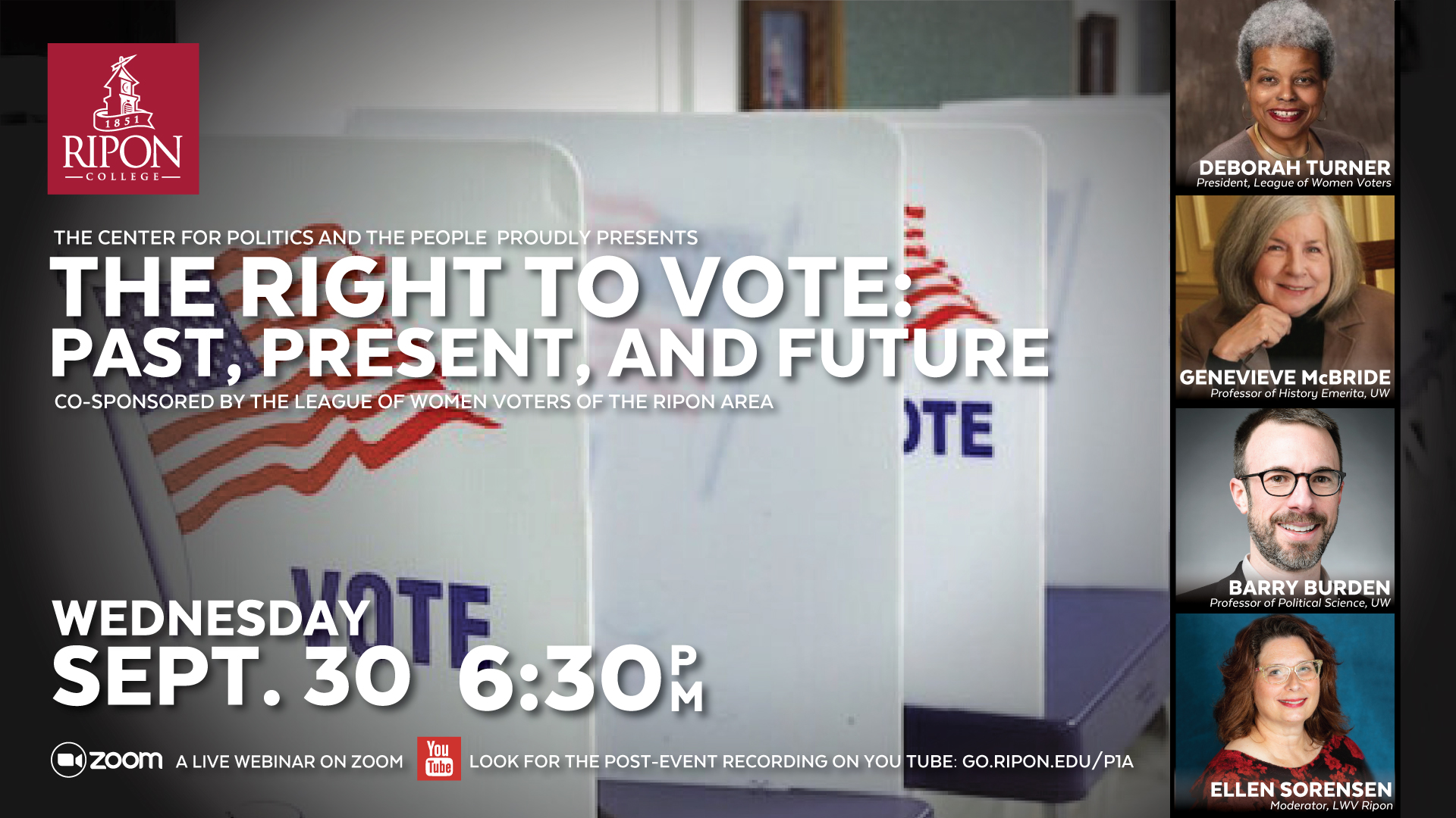 """Event graphic with information on """"The Right to Vote: Past, Present and Future."""""""