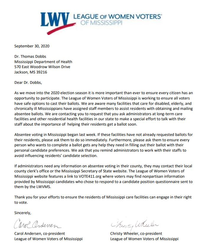 letter to state chief health officer