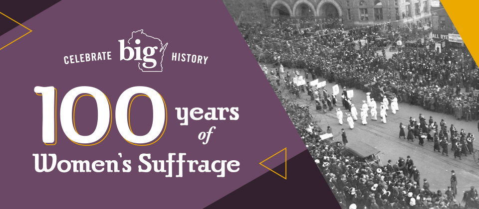 """Graphic with text """"Celebrate 100 years of women's suffrage"""""""