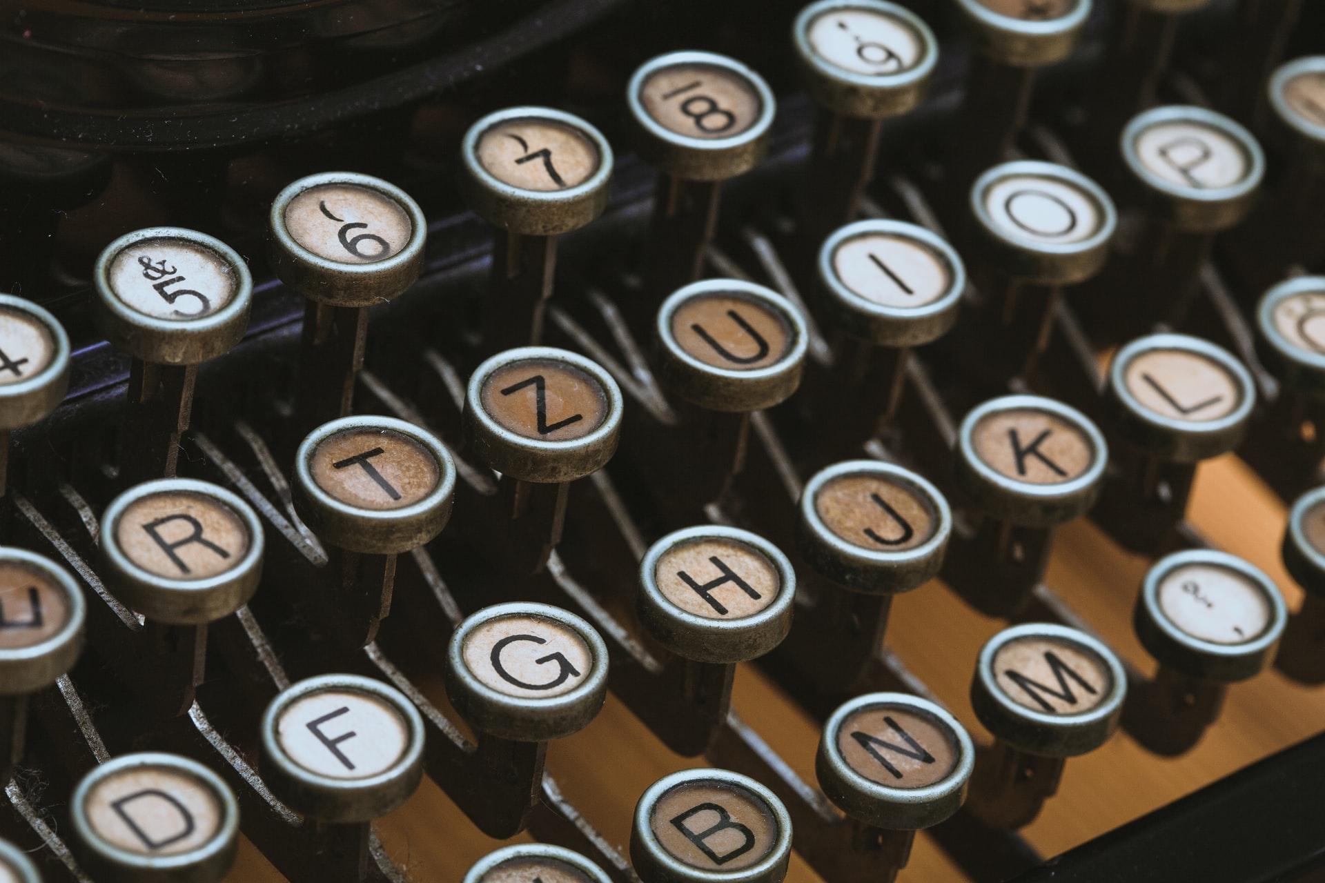 Photo of old typewriter keyboard