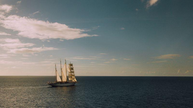 Tall ship on open sea