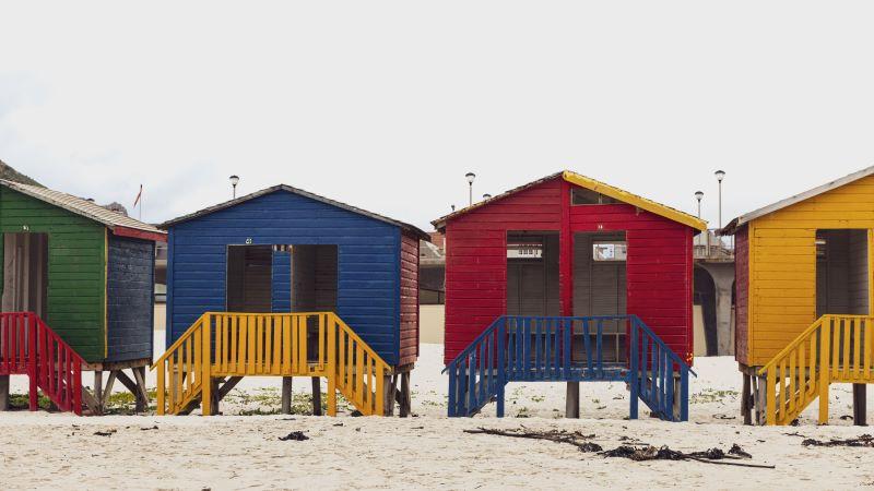 Photo of a row of empty beach houses
