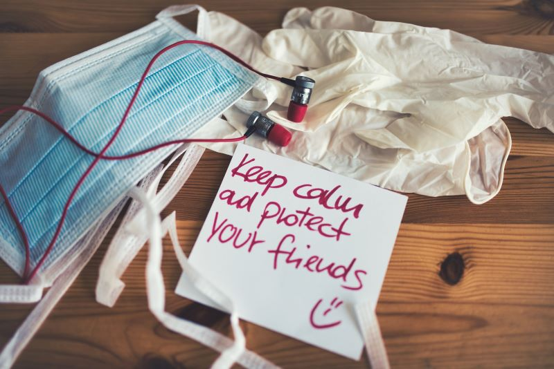 """""""Keep Calm and Protect Your Friends"""" message with mask and gloves"""
