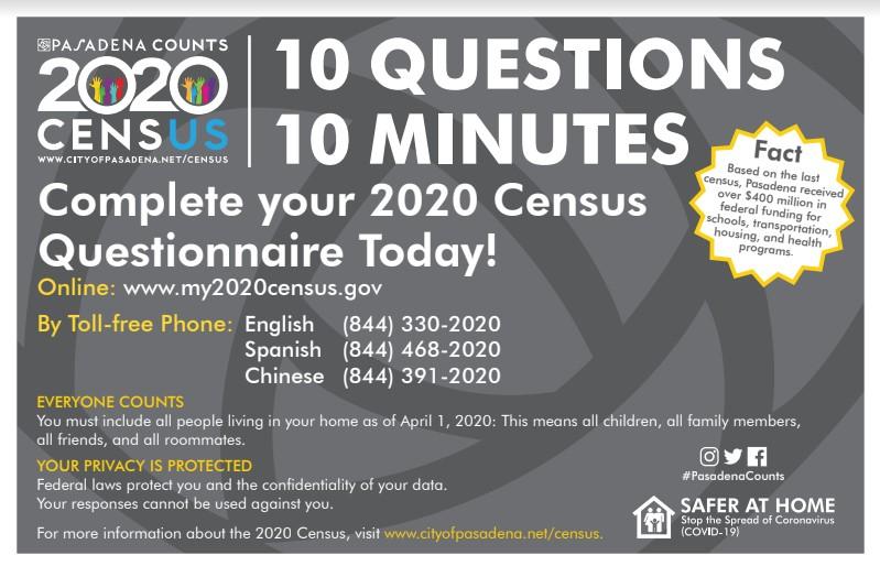 Pasadena Area 2020 Census Flyer