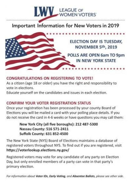 Important Info for New NY Voters 2019 - Side 1