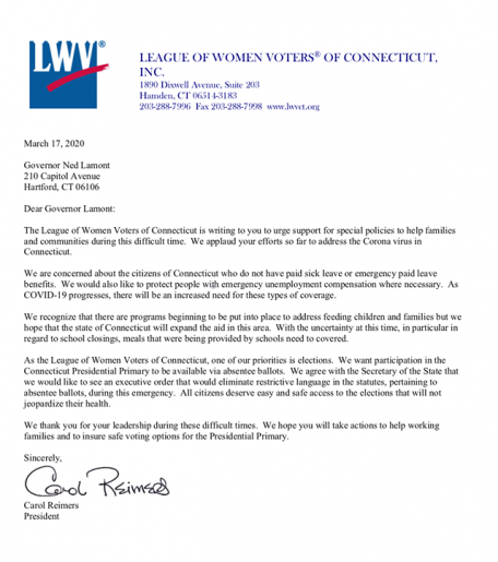 Image of LWVCT letter to Governor Lamont about Absentee Ballots during COVID-19 Emergency
