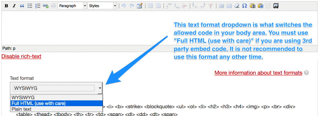 visual demonstrating dropdown to select Full HTML for text format