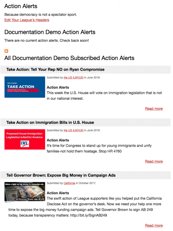 Example of an Action Alert page on MyLo