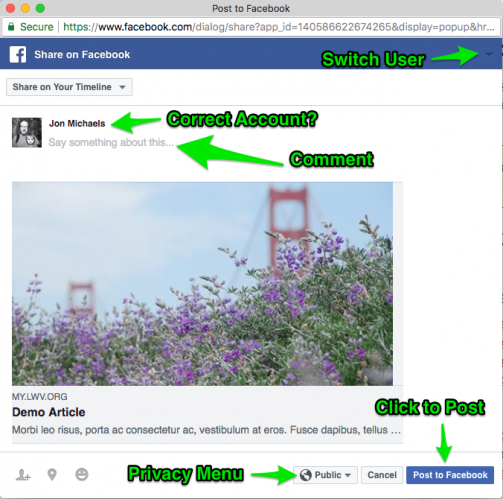 Example of sharing a MyLO article on Facebook via the Share Widget