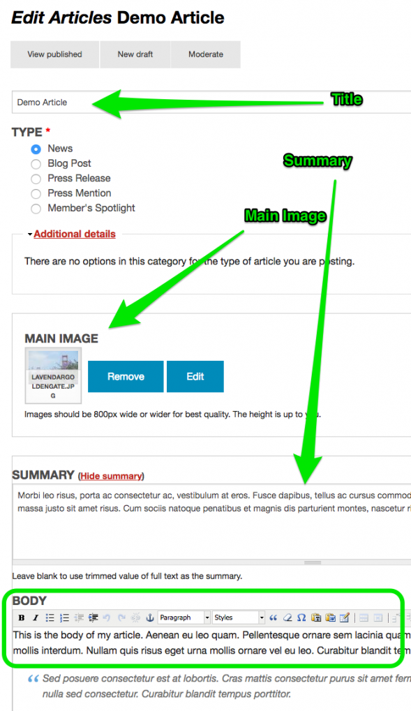 Example of Title, Summary and Main Image fields