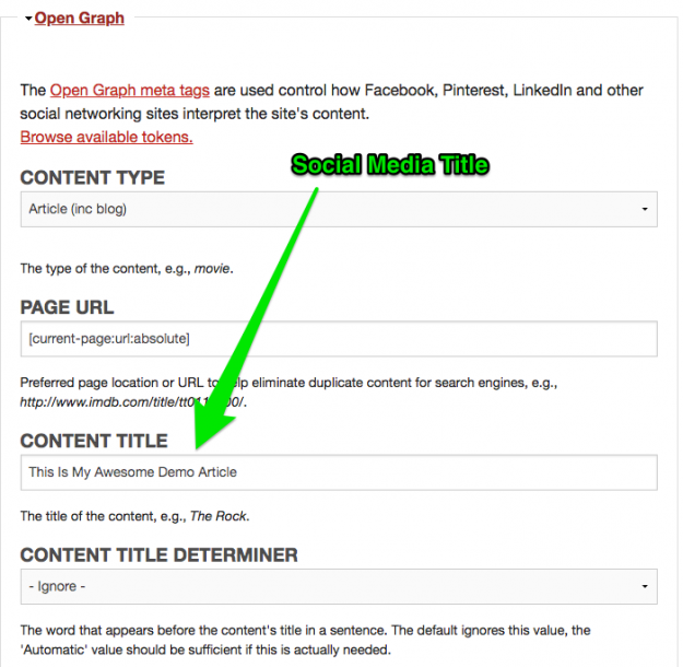 Showing the Content Title field for changing the Title on social media posts.