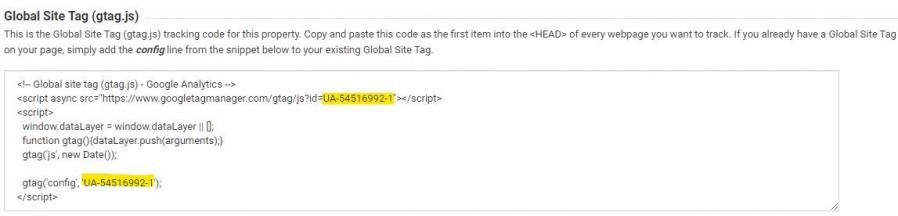 Example of global site tag generated in Google Analytics