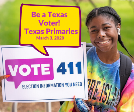 Young woman with VOTE411 poster