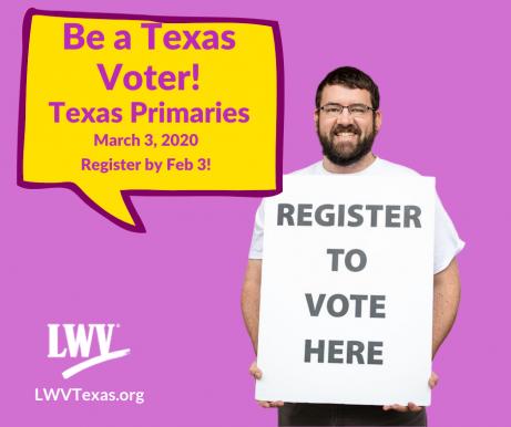 man holding register to vote poster