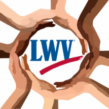 Hands of different colors surrounding the League of Women Voters Logo symbolizing the League's commitment to diversity.