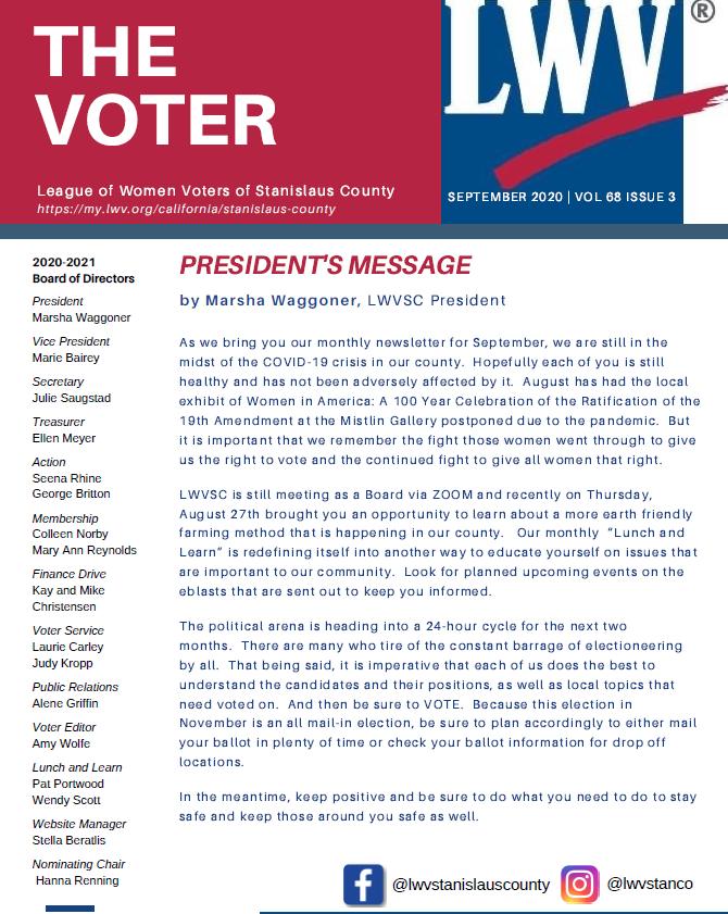 Cover image of VOTER newsletter September 2020