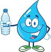 water drip cartoon character with water bottle