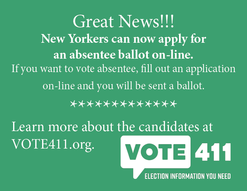 You can apply on line for absentee ballot