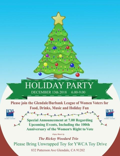 Holiday Party Invitation for Glendale Burbank 2018 event
