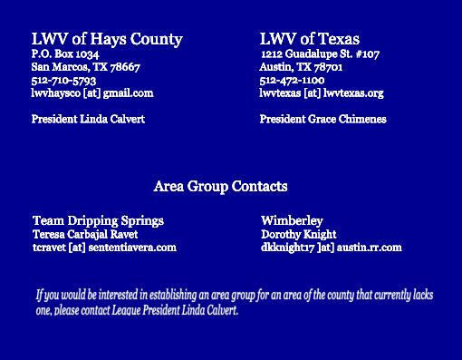 photo of LWV Hays County contact information: P. O. Box 1034, San Marcos, TX 78667, 512-710-5793, lwvhaysco@gmail.com