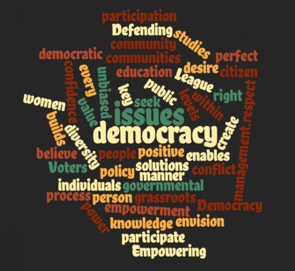 League mission and values word cloud