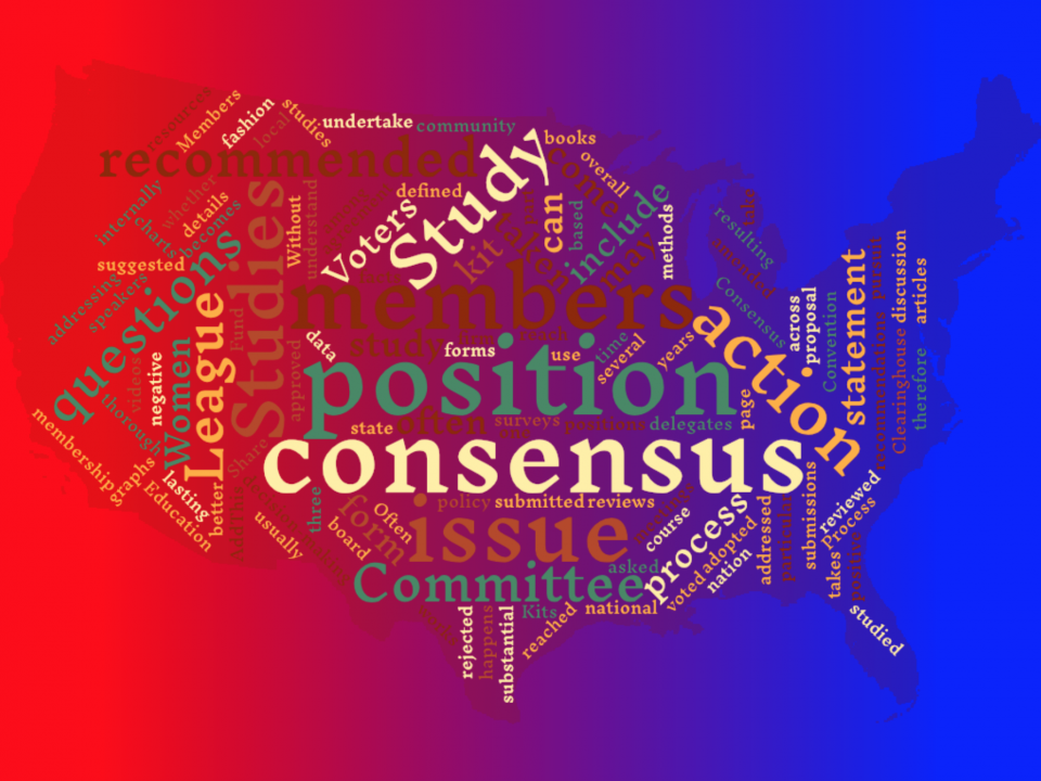 Word cloud image with LWV process of studying issues, reaching consensus