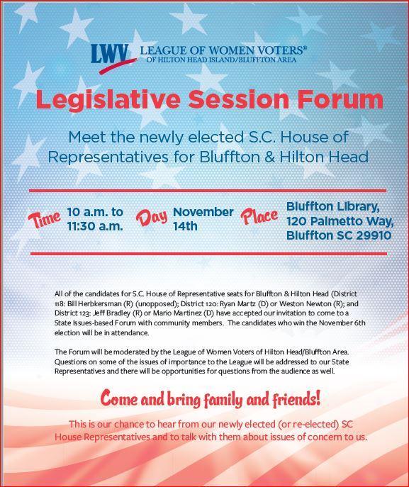 SC House Rep Forum, Nov. 14, 10 am, Bluffton Library