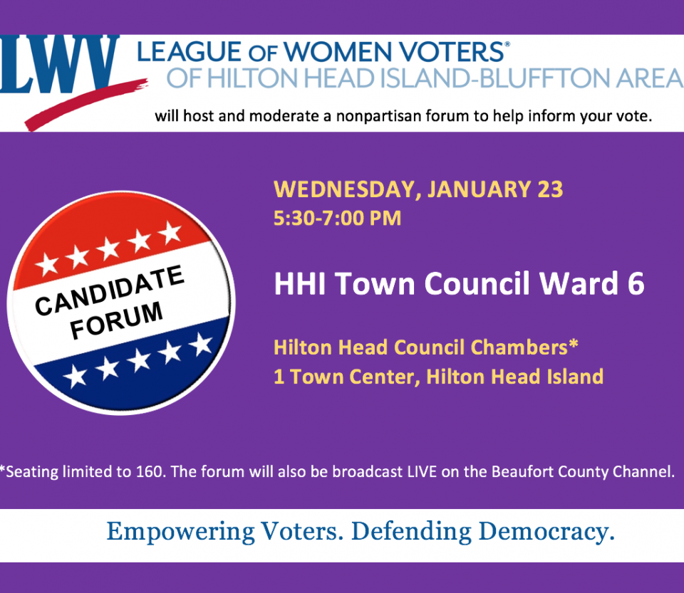 Jan. 23 Candidate Forum: HHI Town Council Ward 6