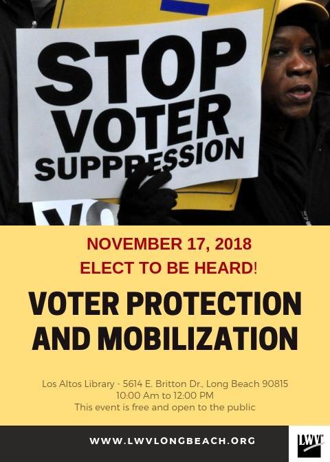 Voter Suppression Nov event flyer