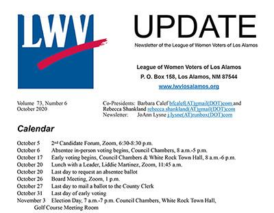 20201001 LWV Newsletter - Oct Image