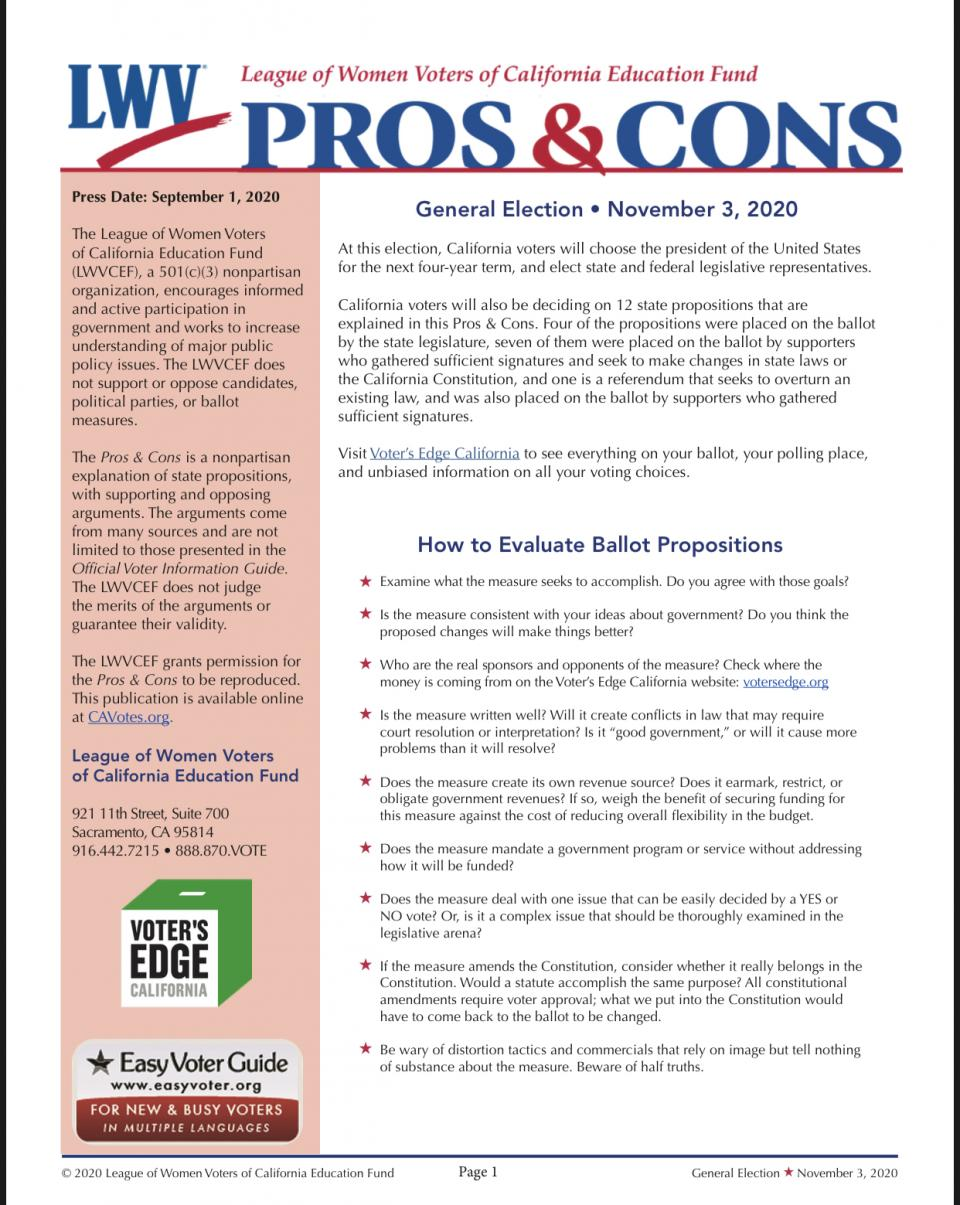 PROS AND CONS NOVEMBER 2020