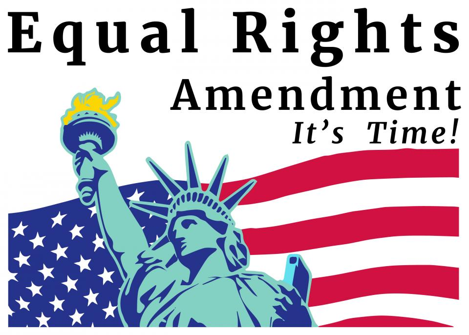 image of the Statue of liberty in front of flag, with Equal Rights Amendment - It's Time