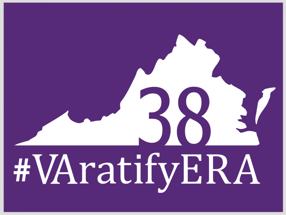 "outline of Virginia with ""VAratifyERA"" as text and the large number 38"