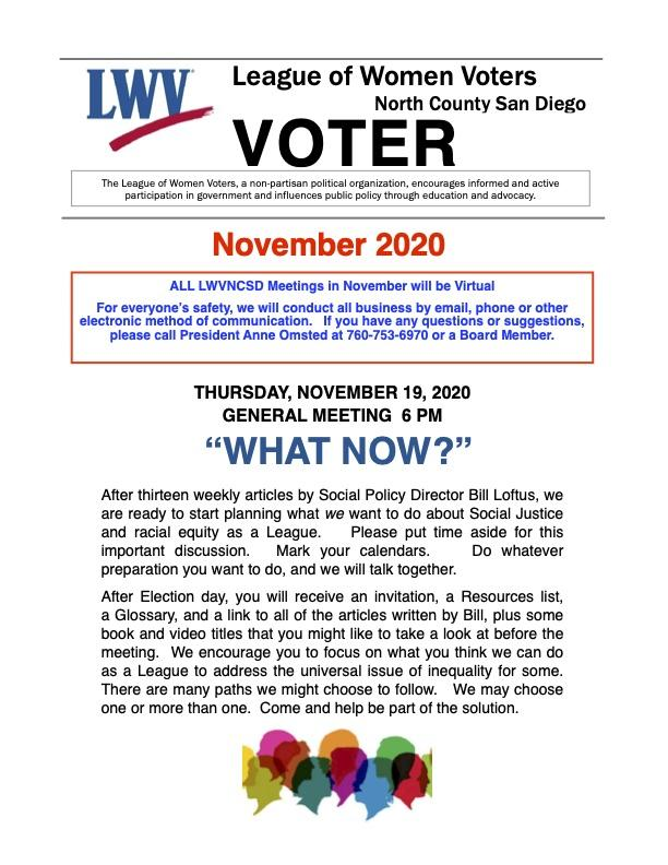 LWVNCSD Voter Newsletter November 2020