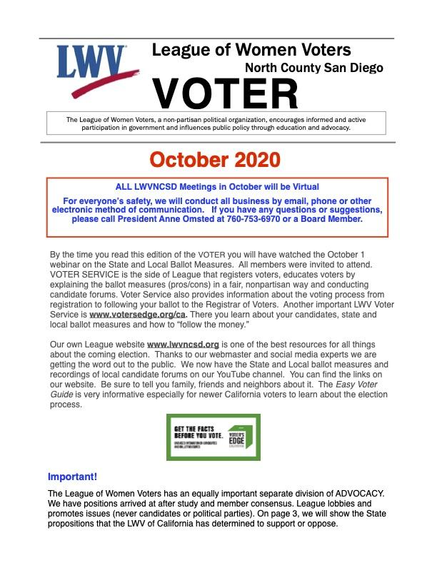 An image of the cover of the October 2020 VOTER newsletter