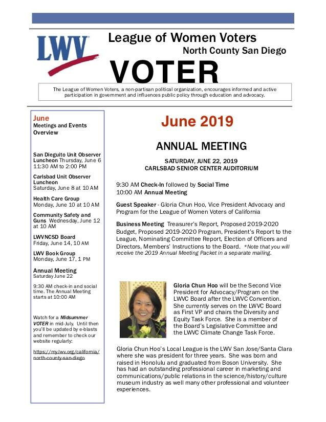 June 2019 LWVNCSD VOTER Newsletter