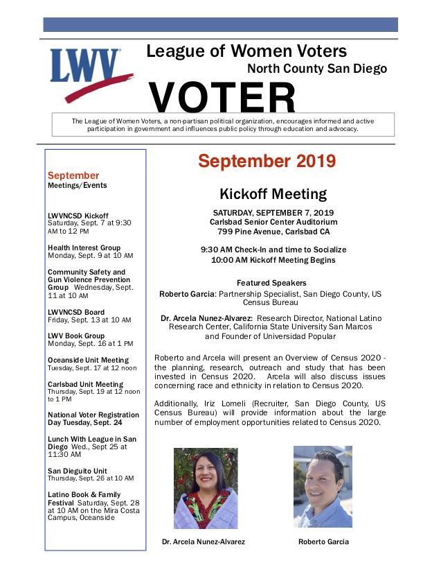 September 2019 LWVNCSD VOTER Newsletter